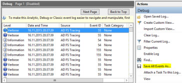 ADFS – How to enable Trace Debugging and advanced access logging